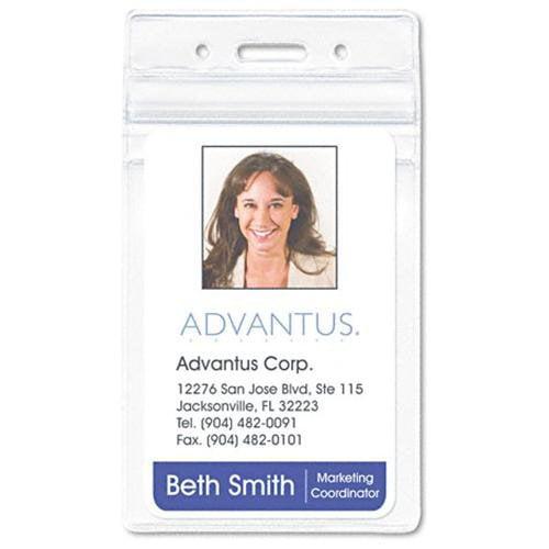 Advantus Vertical Re-sealable Badge Holder - Vertical - 50 / Pack - Clear (75524)