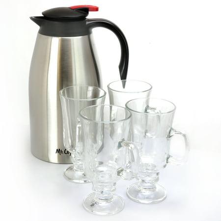 Mr. Coffee Galion 5-Piece Stainless Steel Coffee Pot & Glass Pedestal Cups Set