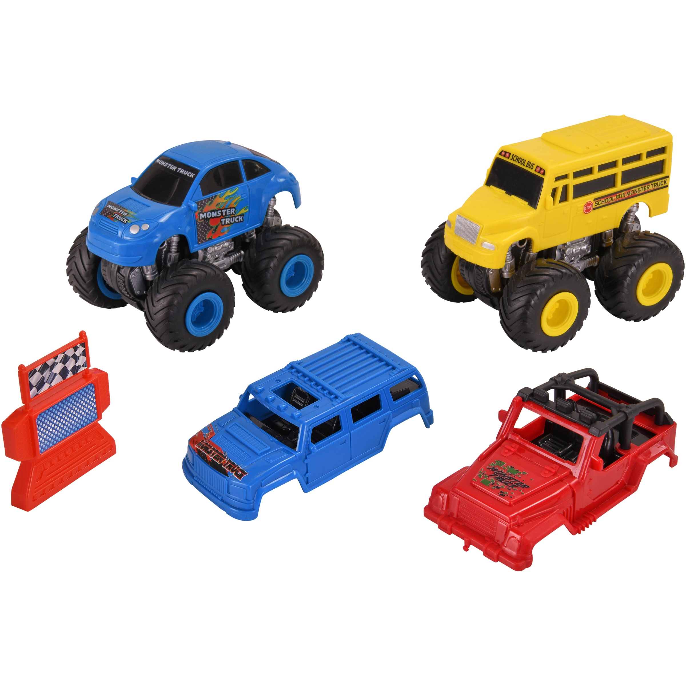 Kid Connection 7-Piece Friction Powered Monster Truck Play Set, Blue & Yellow