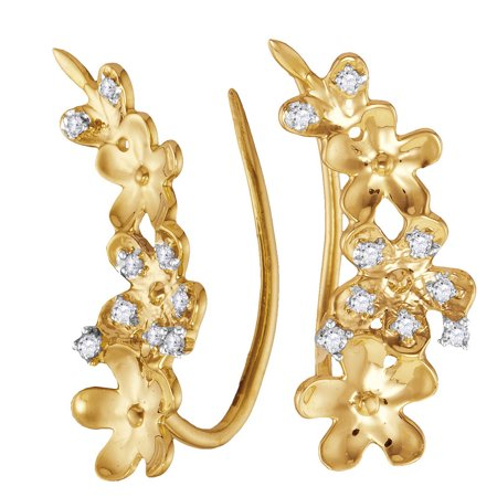 10kt Yellow Gold Womens Round Natural Diamond Floral Climber Fashion Earrings (.10