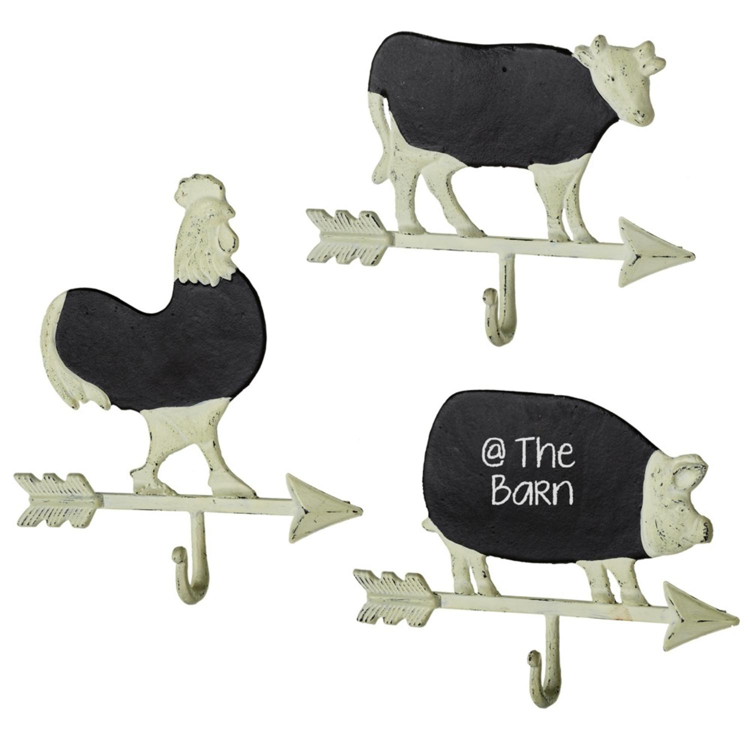 """Set of 3 Rustic Distressed Farm Animal Weathervane Memo Boards with Hooks 10.5"""""""