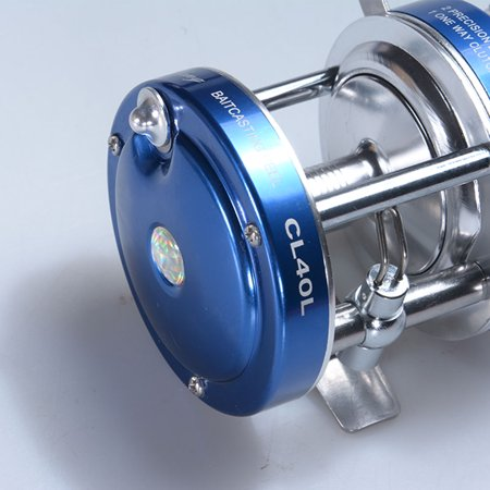 Baitcaster Reel with Oversized Handle Golden Right Hand Blue - Left Hand Blue Handles