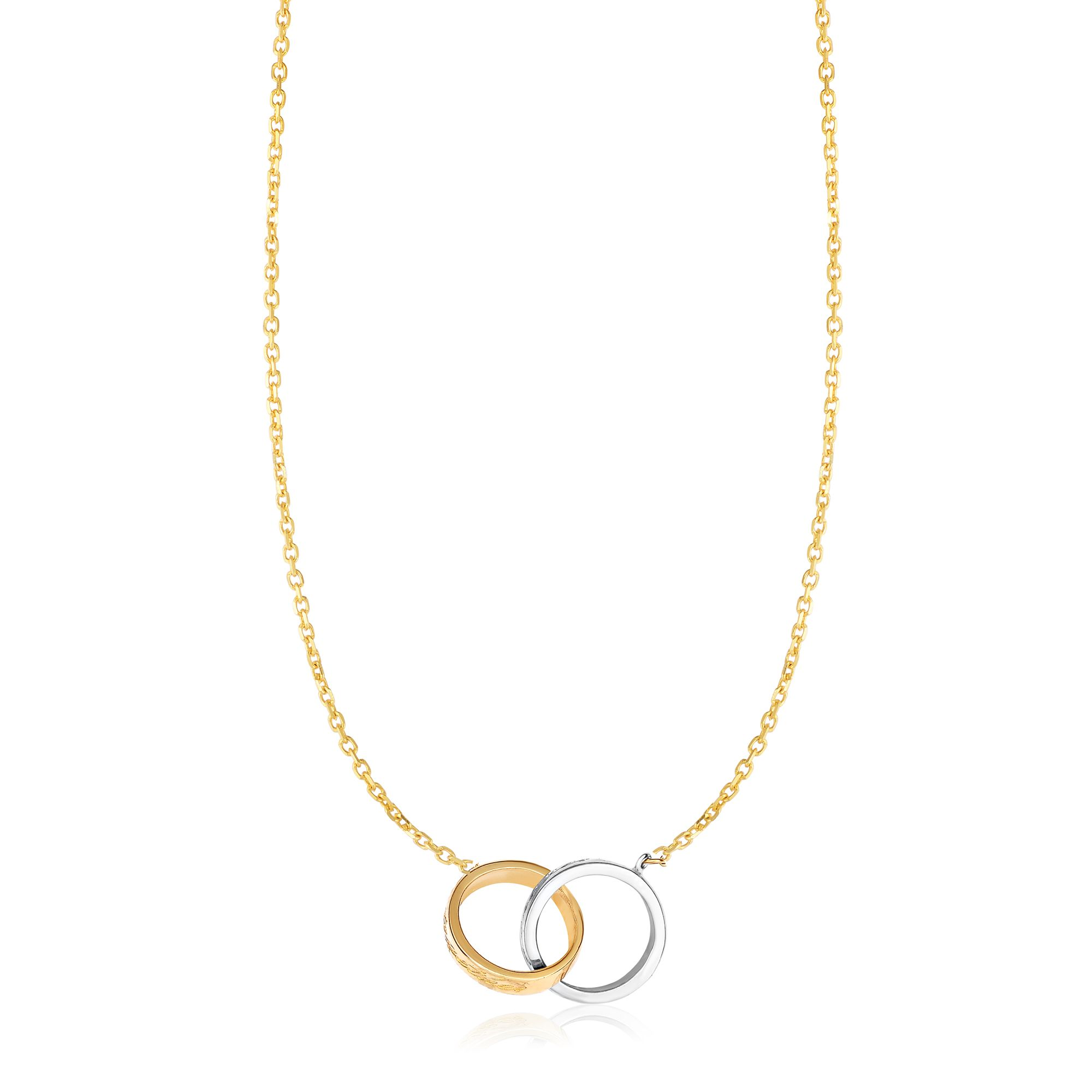 """14k Two Tone Gold Shiny 13-1.1mm Interconnected Double Ring Necklace 17"""" by JewelStop"""