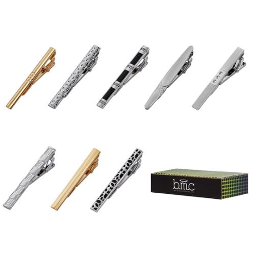 Bundle Monster 8pc Luxury Mens Gold and Silver Finish Necktie Tie Clip Mix Set
