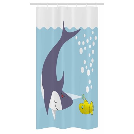 Yellow Submarine Stall Shower Curtain, Shark with Vessel in Ocean Bubbles Under Sea Theme Animals Cartoon, Fabric Bathroom Set with Hooks, 36W X 72L Inches Long, Blue Gray Yellow, by - Shark Themed Bathroom