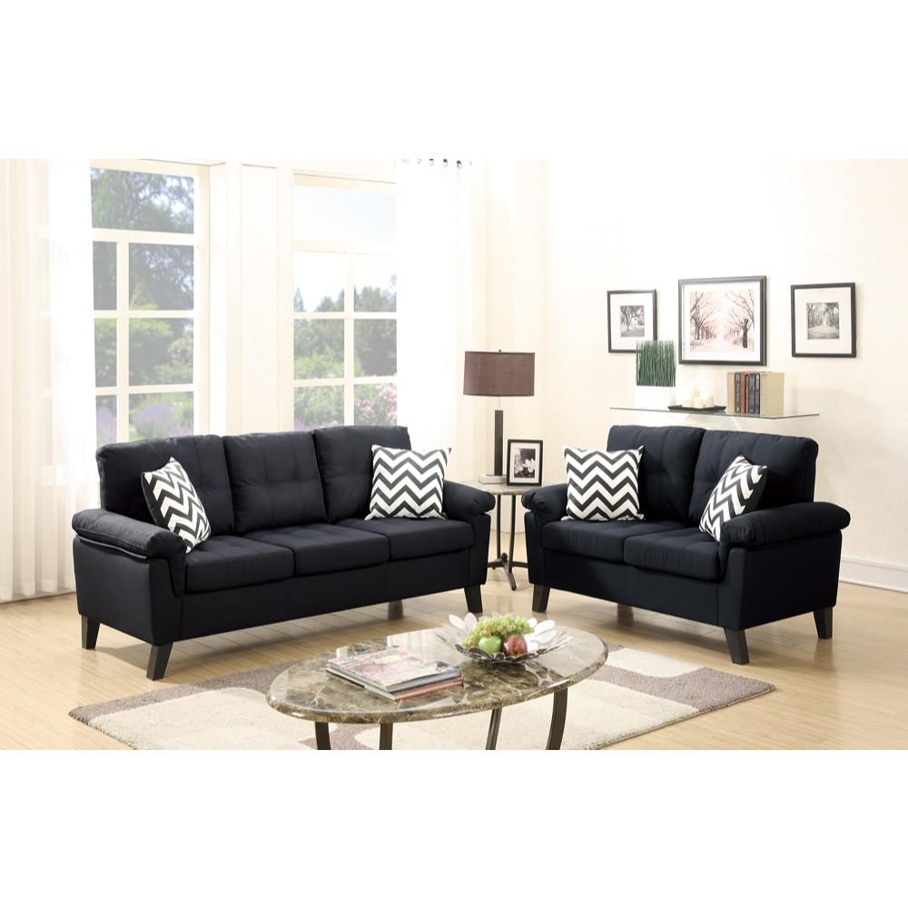Polyfiber 2 Pieces Sofa Set With Accent Pillows Black