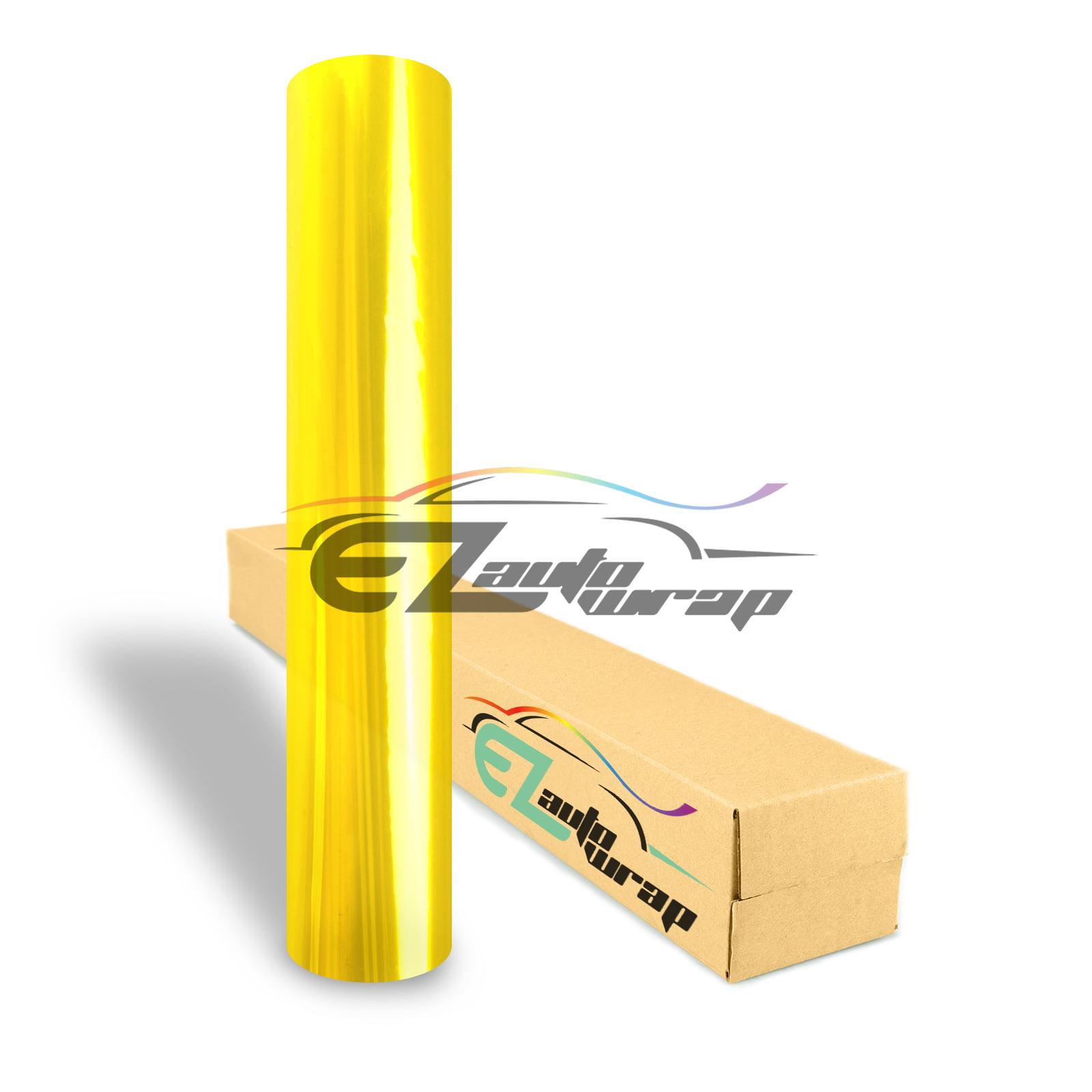 "EZAUTOWRAP 12"" Wide Glossy Golden Yellow Headlight Taillight Fog Light Side Marker Vinyl Tint Film Roll Sticker Self Adhesive"