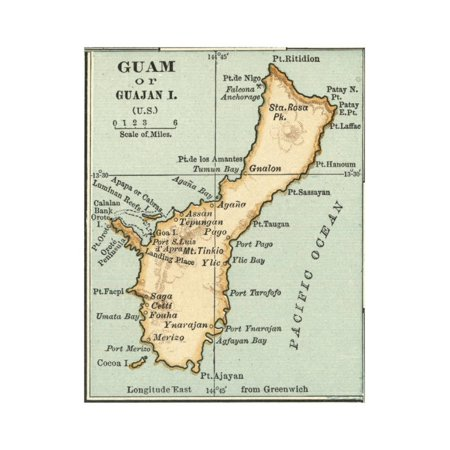 Inset Map of Guam or Guajan Island (Us) Print Wall Art By ...