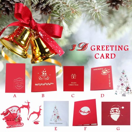 Akoyovwerve 3D Merry Christmas Greeting Pop-up Cards with Small Blessing Cards and Envelopes for Xmas Gifts.Size C - Easy Halloween Pop Up Cards