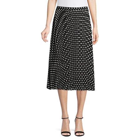 Dot Pleated Midi Skirt
