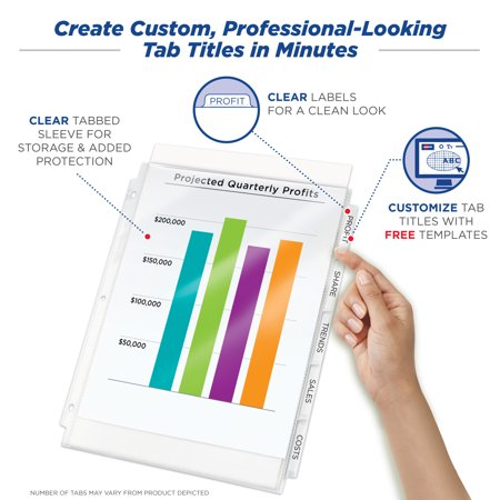 Avery Print & Apply Clear Label Sheet Protector Dividers, Index