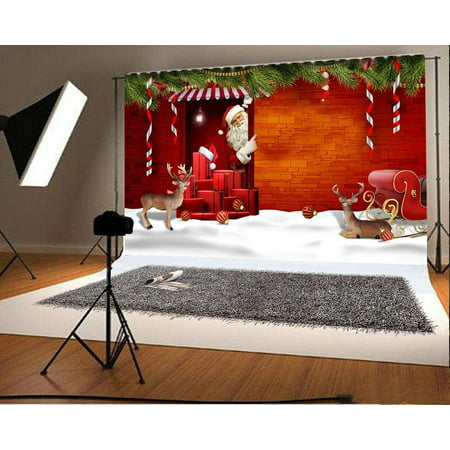 Christmas Scene Backdrop (GreenDecor Polyster 7x5ft Christmas Snow Scene Santa Claus Backdrop Studio Props Merry Christmas Photography)