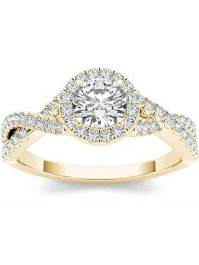 1-1/10 Carat T.W. Diamond Criss-Cross Shank Single Halo 14kt Yellow Gold Engagement Ring