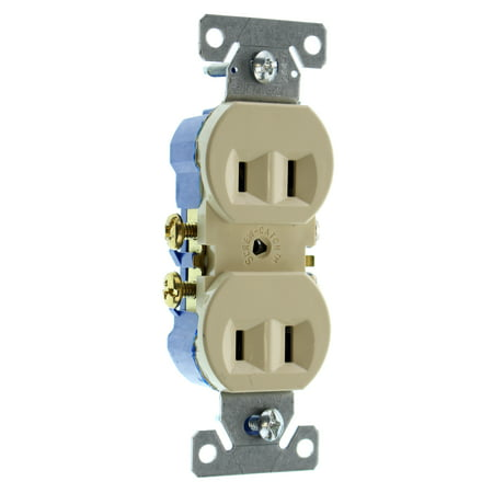 Hubbell RR15NGIZ Duplex Recetpacle Outlet, Non-Grounding, 2-Wire, 15 ...