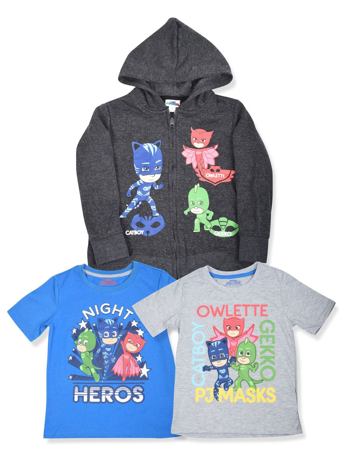 All Character Graphic Hoodie with Graphic Tees, 3-Piece Set (Little Boys)
