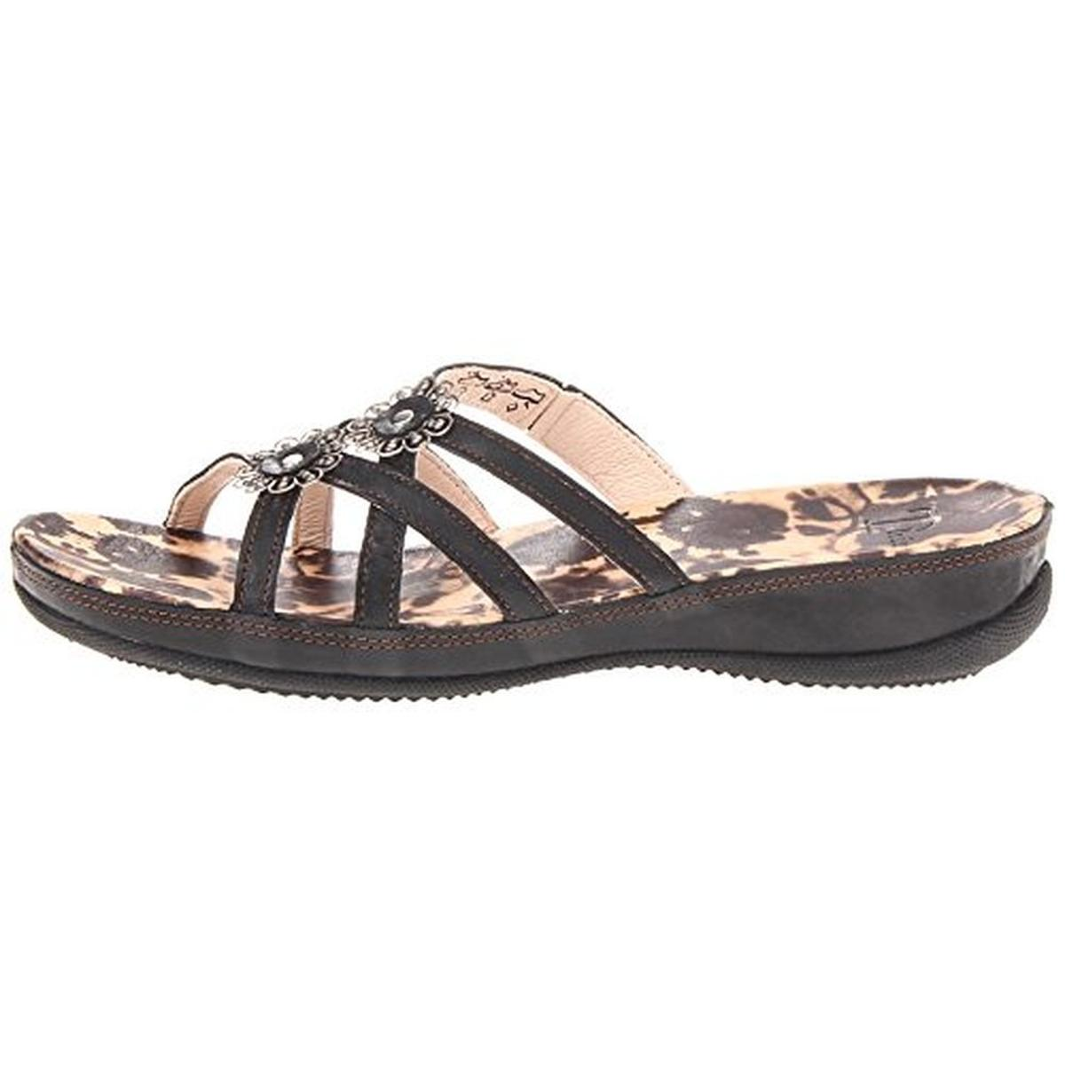 Think! Womens Zenzi Leather Embellished Strappy Sandals by Think!