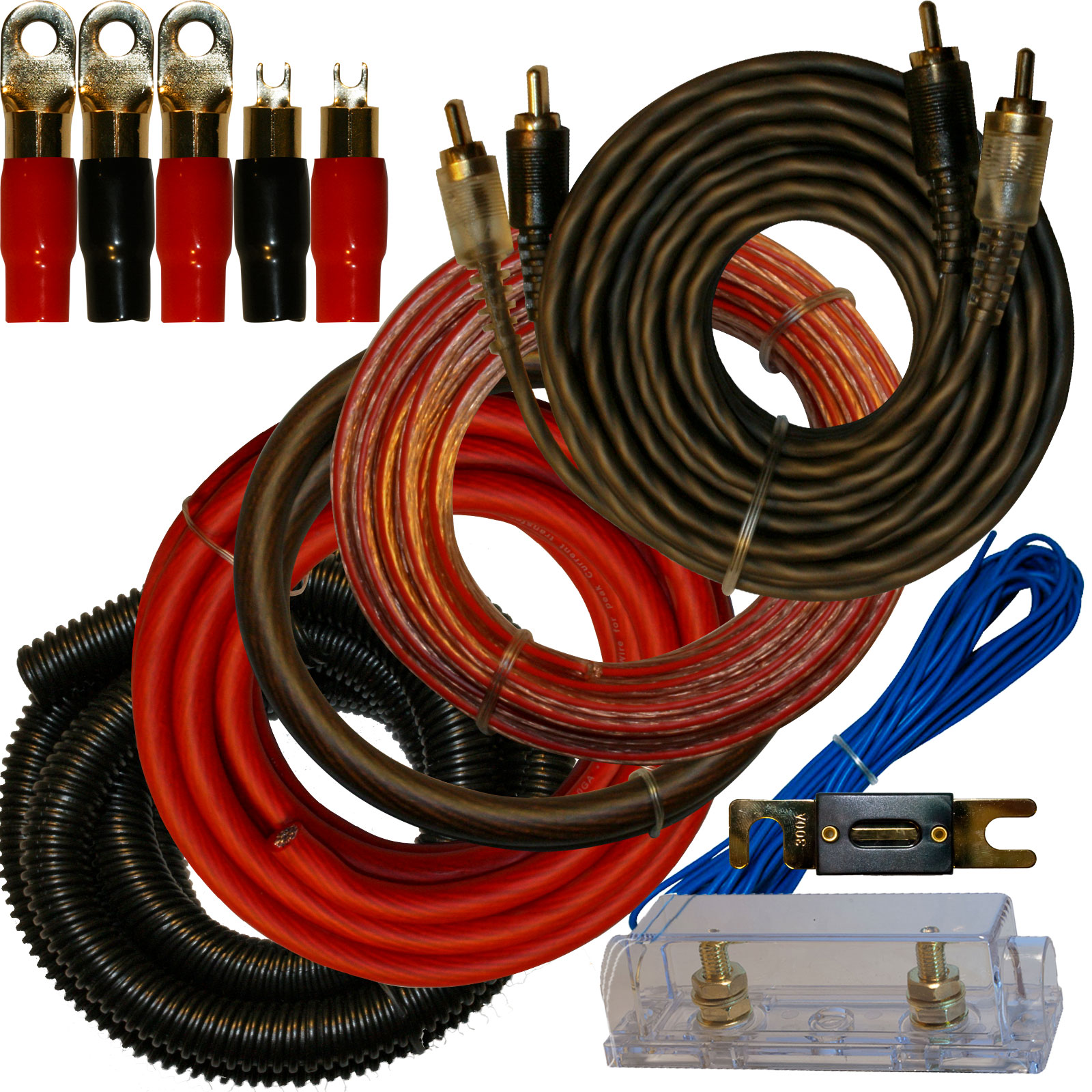 0 Gauge Amp Kit for Amplifier Install Wiring Complete 1/0 Ga Cables 4500W