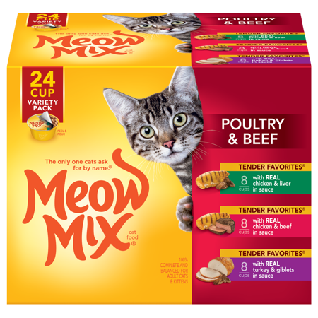 Tender Turkey - Meow Mix Tender Favorites Poultry & Beef Variety Pack Cat Food, 2.75-Ounce