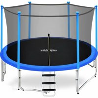 Zupapa 15 14 12 10FT Kids Trampolines 425LBS Weight Capacity with Enclosure net Include All Accessories Outdoor Backyard Trampoline