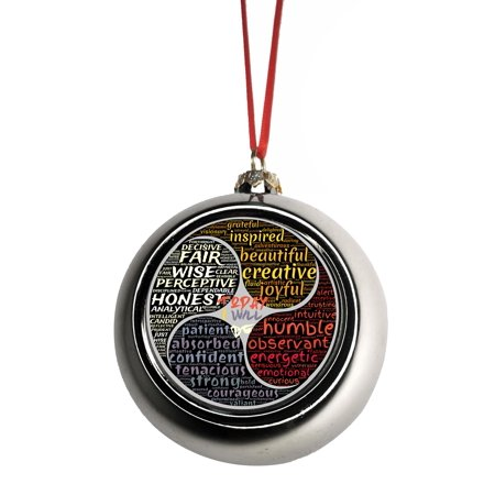 Meditation Balm - Good Personality Character Traits Zen Meditation Bauble Christmas Ornaments Silver Bauble Tree Xmas Balls