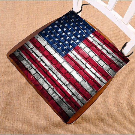 PHFZK American Flag Chair Pad, Brick Wall with Flag of United States Seat Cushion Chair Cushion Floor Cushion Two Sides Size 16x16 inches