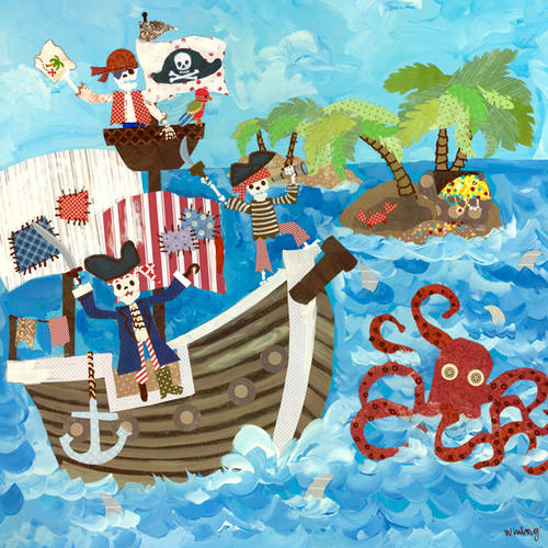 Oopsy Daisy Too's Pirates Canvas Wall Art, 21x21