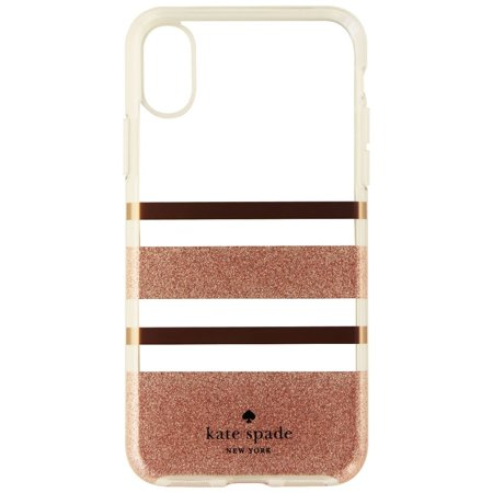 Kate Spade Flexible Hard Case for iPhone X 10 - Clear/Rose Gold/Glitter - Kate Spade Stripes