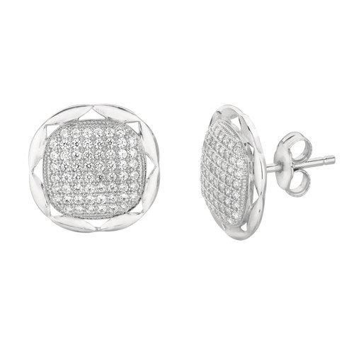 Silver on the Rocks Micro-Set Cubic Zirconium Round Shape Stud Earring