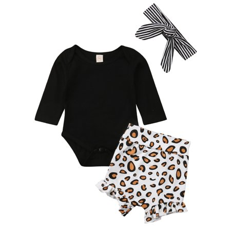 3PCS Infant Baby Girls Long Sleeve Bodysuit With Leopard Short And Headband -