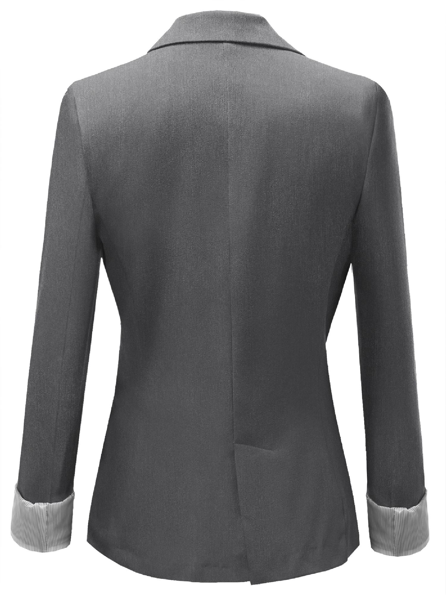 Awesome21 Womens Solid Long Sleeves One Button Closure Side Pocket Inner Stripe Blazer