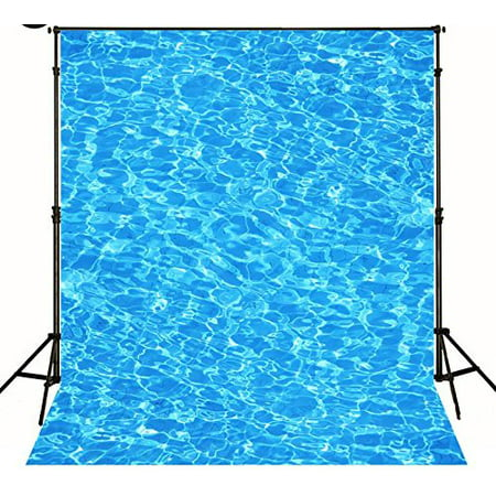 HelloDecor Polyester Fabric 5x7ft Swimming Pool Blue Water Wave Background newborn photo backdrop](Wizard Of Oz Backdrop)