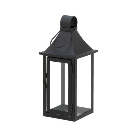 Patio Candle Lanterns, Outdoor Carriage House Large Black Metal Candle Lantern - Large Black Lanterns
