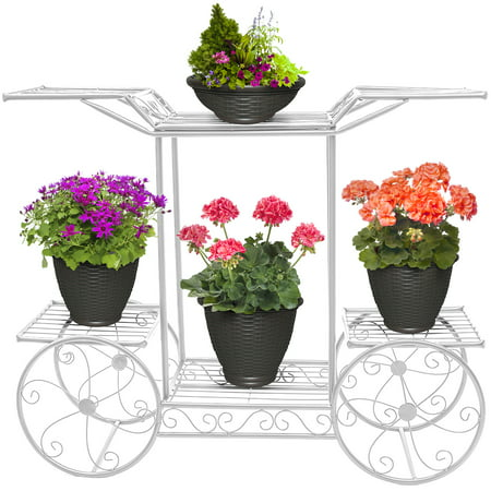 Sorbus? Garden Cart Stand & Flower Pot Plant Holder Display Rack, 6 Tiers, Parisian Style - Perfect for Home, Garden, Patio (White)