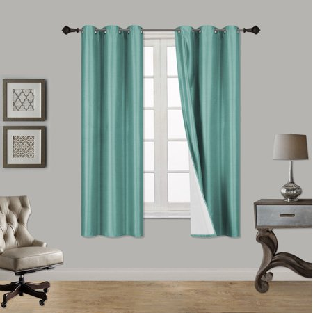 "(SSS) 2-PC Teal Solid Blackout Room Darkening Panel Curtain Set, Two (2) Window Treatments of 37"" Wide x 63"" Length Each Panel"