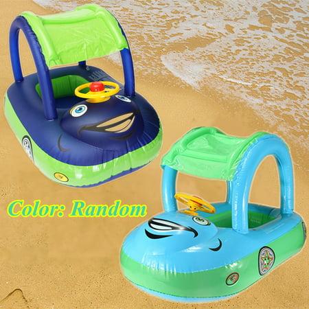 Grtsunsea Baby Kids Inflatable Car Sunshade Swim Ring Swimming Float Seat Boat Wheel & Sunshade Swimming Pool Games Play Toys Safe For 6-36 Months kids 15KG (Sunshade Float)