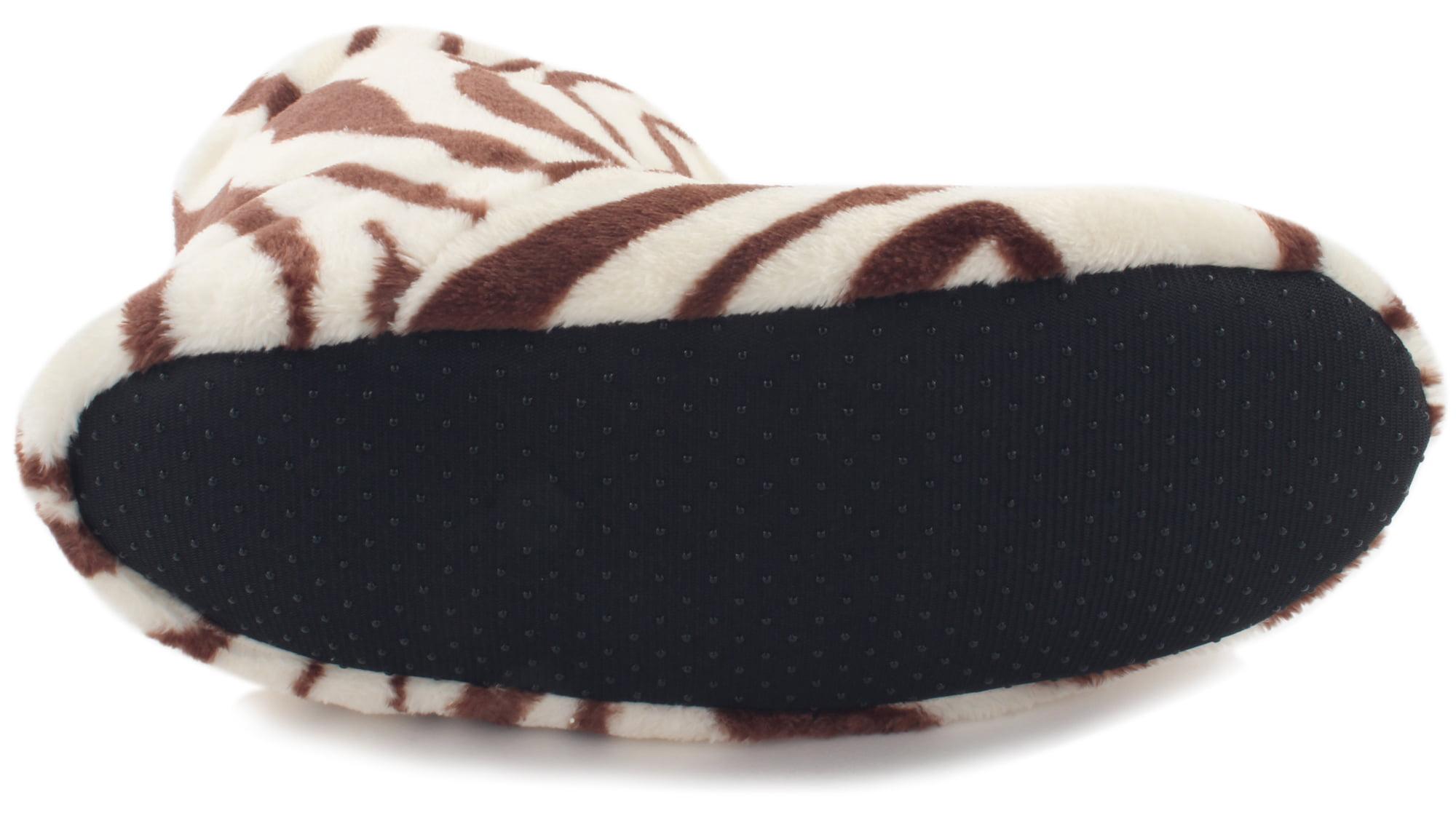 Women's Fashion Plush Faux Fur Zebra Print Indoor Non Slip | House Slippers Off White | Slip Brown Small Medium (25cm) e6ccbb