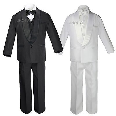 Baby Toddler Boy Communion Formal Shawl Satin Lapel Tuxedo Black White Suit S-20 - First Communion Suits For Boy