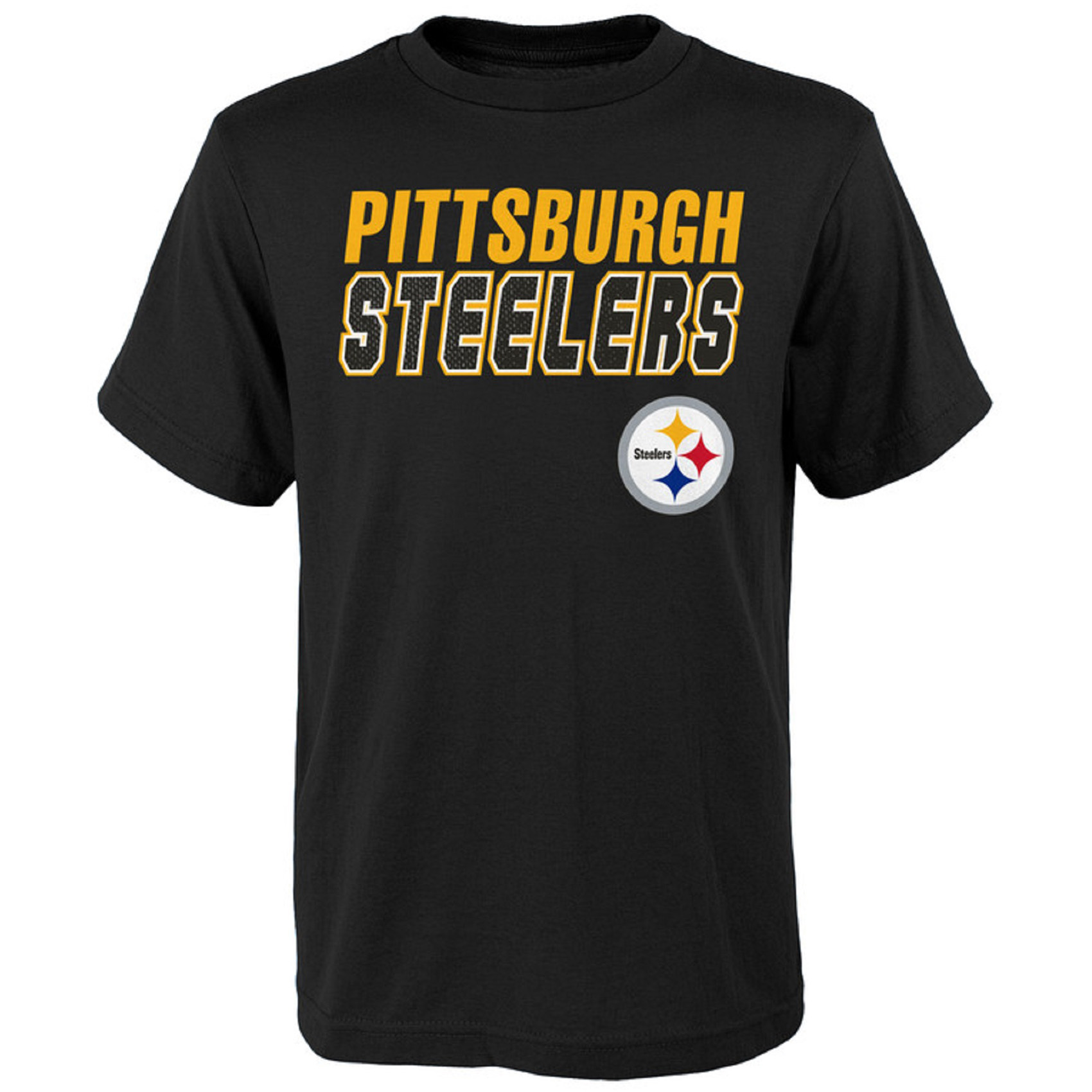 Youth Black Pittsburgh Steelers Outline T-Shirt