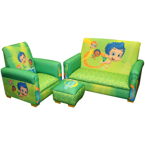 Nickelodeon Bubble Guppies Fintastic Toddler 3-Piece Sofa, Chair and Ottoman Set