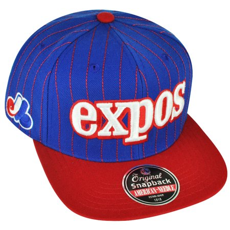 MLB American Needle Montreal Expos Pin Stripes Flat Bill Hat Cap Snapback - American League Pins