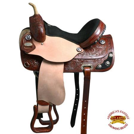 "14"" Western Horse Saddle Leather Treeless Trail Barrel Brown By Hilason O103"