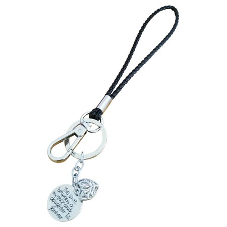 AM Landen Love Words Braided Leather 6' Wristlet Key Chains Keychain for Keys, Phone & Camera Best Gift Keychains For Friends & Family (The love between mother and daughter ....., (Best Camera Phone For Cheap)