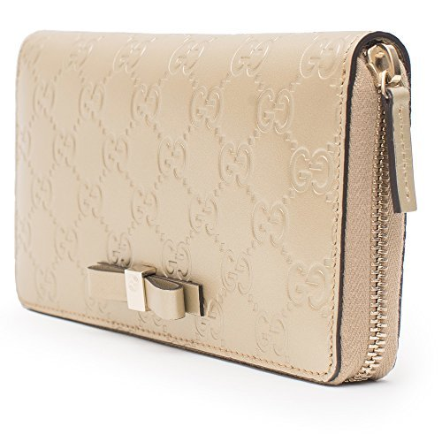 Gucci Platinum Gold Bow Leather Wallet Guccissima Zip aro...