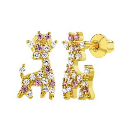 In Season Jewelry 18k Gold Plated Pink Clear CZ Giraffe Screw Back Earrings for Girls