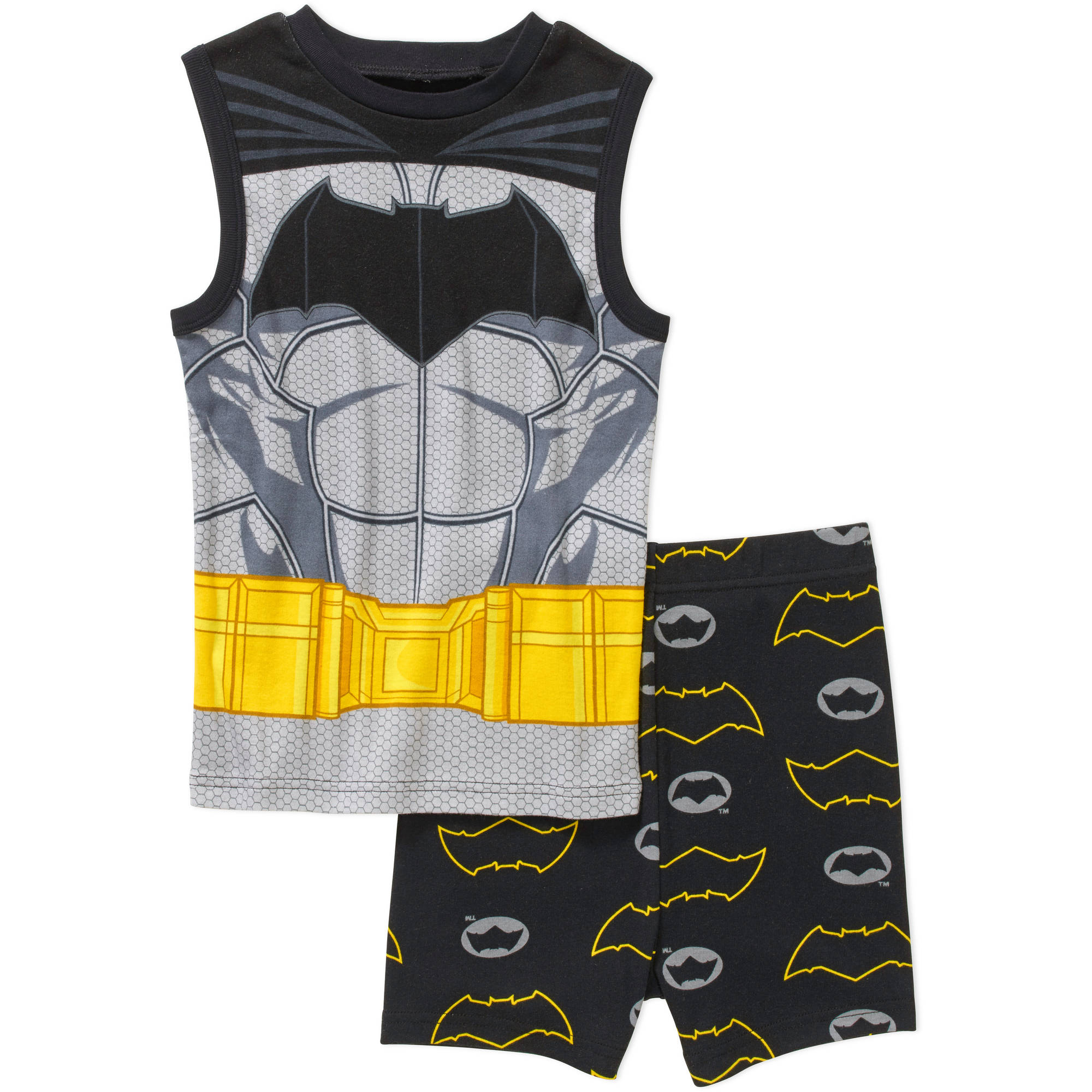 Batman Boys' License Tight Fit Cotton Muscle Sleep Shirt and Short 2 Piece Pajama Set
