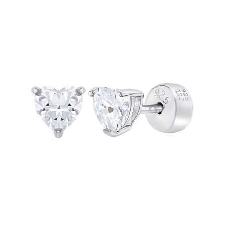 925 Sterling Silver Cubic Zirconia Solitaire Heart Safety Back Earrings S