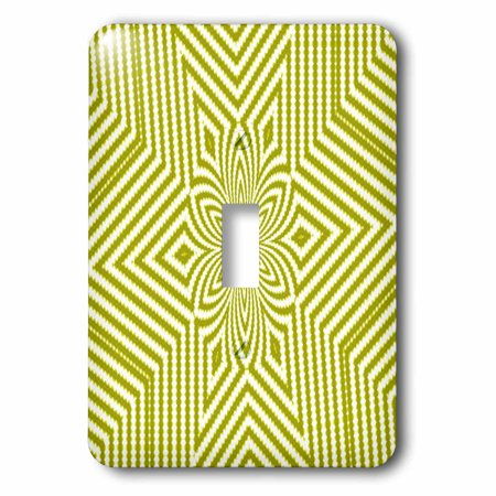 3dRose Textile Pattern Lime Green And White Large Star - Single Toggle Switch (lsp_18473_1)