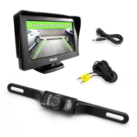 PYLE PLCM46 - Backup Rear View Car Camera Monitor Screen System Kit - Parking & Reverse Safety Distance Scale Lines, Waterproof, Night Vision, 4.3