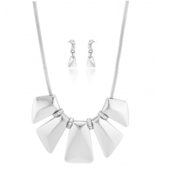 Eshopo 0805470016328 Silver- Tone Metal Plates With Crystal Hoops Necklace And Earring Set