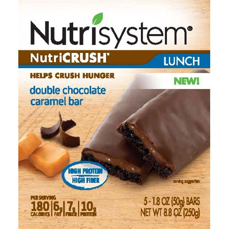 (2 Pack) Nutrisystem NutriCrush Double Chocolate Caramel Lunch Bars, 1.8 Oz, 5